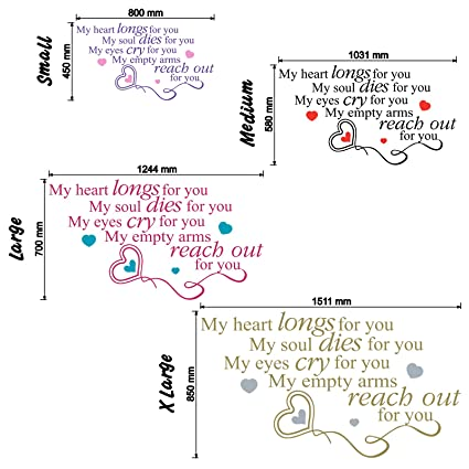 Amazoncom My Heart Longs For You Wall Sticker Love Quote Color