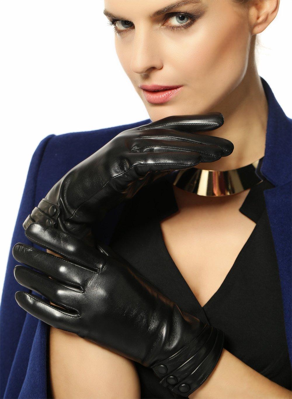 Warmen Women's Touchscreen Texting Driving Winter Warm Nappa Leather Gloves - 6.5 (US Standard size) - Black ( Fleece Lining ) by WARMEN (Image #3)