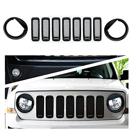 Bolaxin Jeep Patriot Black Chrome Front Grille Grill Trim Kits Set of 9(Angry Bird Style 9pcs)