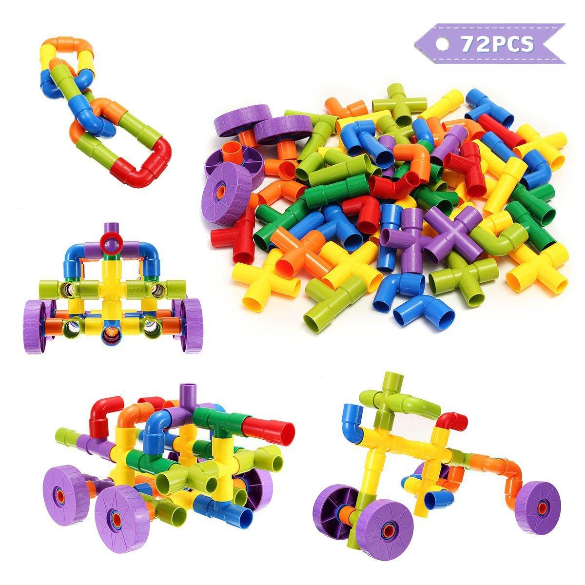 FUNTOK Building Blocks, Tube Blocks Set Assembling Toys DIY Pipeline Blocks with Wheels 72 pcs Interlocking Set Construction Building Blocks for Kids