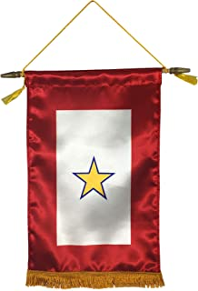 product image for Gettysburg Flag Works 8x14 1 Gold Star Satin Indoor Service Star Window Banner with Hanging Cord, Made in USA