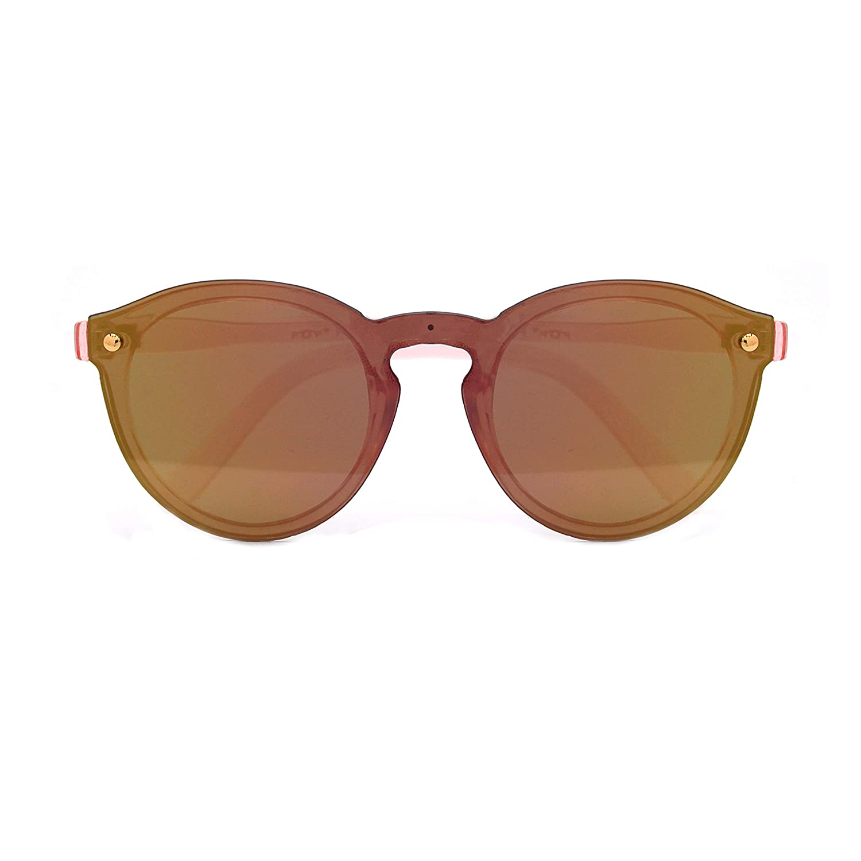 Polarized Rimless One Piece Round Mirrored Sunglasses P4166