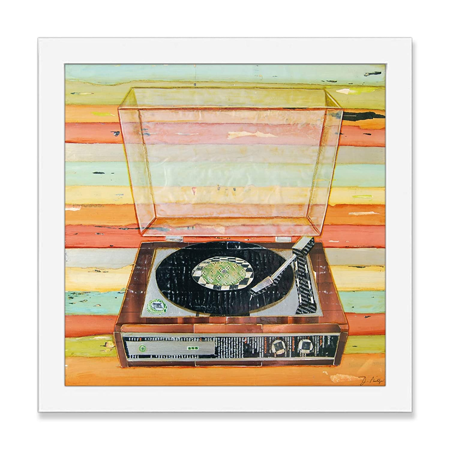 Put a Needle on the Record - Danny Phillips Art Print, Unframed, Vintage Retro Record Player Artwork, Musical Mixed Media Collage Painting, All Sizes