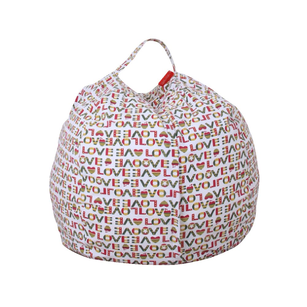 AMAMDOOG Stuffed Animal Storage Bean Bag Chair - 38'' Extra Large Premium Cotton Canvas Plush Toy Organizer Storage Bag - Awesome Storage Solution for Blankets/Covers/Towels/Pillows/Clothes (38'' Red)