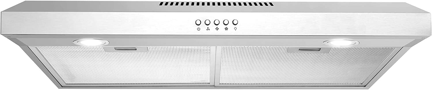 Cosmo 5U30 30 in. Under Cabinet Range Hood with Ducted / Ductless Convertible Slim Kitchen Over Stove Vent, 3 Speed Exhaust Fan, Reusable Filter, LED Lights in Stainless Steel