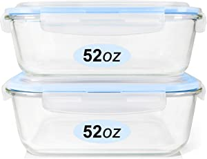 Glass Food Storage Containers Set, Large Size Glass Containers with Lids, BPA-free Locking lids, 100% Leak Proof Glass Meal Prep Containers, Freezer to Oven Safe (2 Pack of 52oz)