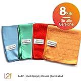 Microfaser Tücher clean2magic Allzweck (8-teilig) | Mikrofasertücher, jeweils für 2 x Böden (Blau), 2 x Glas/Spiegel (grün), 2 x Multizweck (Rot), 2 x Küche/Bad (Orange) | 30 x 30 cm