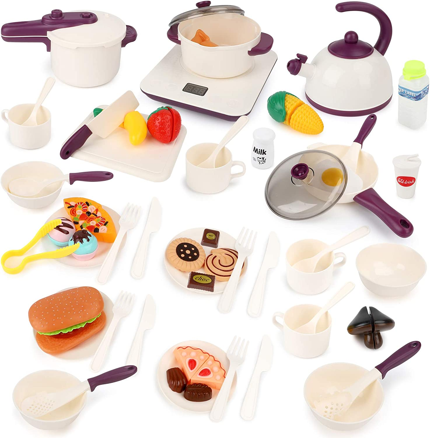 BeebeeRun Kids Kitchen Pretend Play Toys 61PCS Cooking Set for Toddlers Cookware Pots and Pans Playset, Cooking Utensils, Toy Cutlery, Cutting Play Food