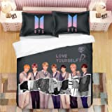 Dolpind Juego de sábanas Kpop BTS Jimin Suga Jungkook V algodón 3 piezas para funda de edredón y funda de almohada