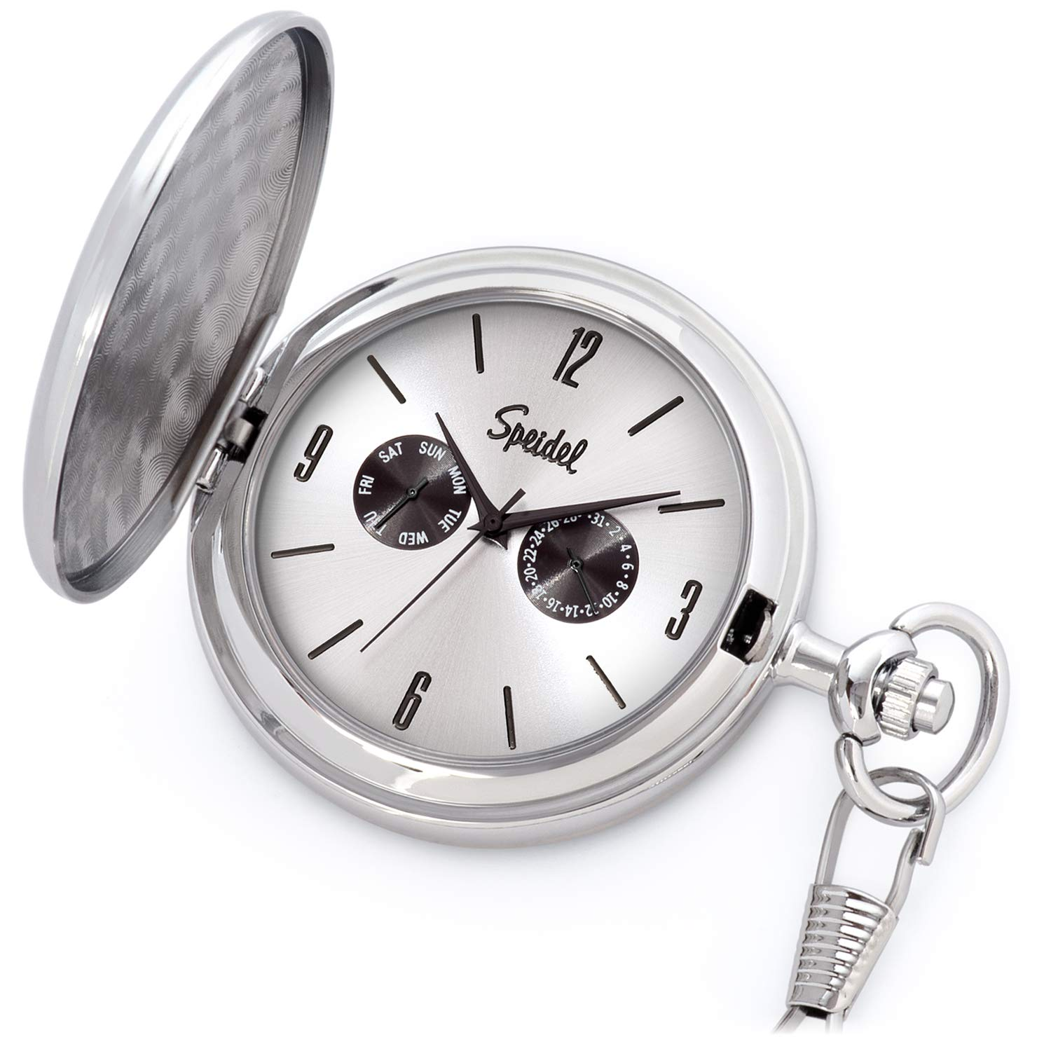 Speidel Classic Brushed Satin Silver-Tone Engravable Pocket Watch with 14'' Chain, Silver Dial, Seconds Hand, Day and Date Sub-Dials