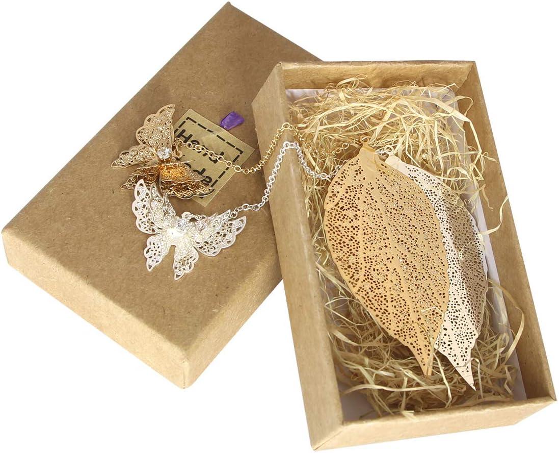 2 Pcs Metal marcadores arte hojas con mariposa Ven con caja de regalo perfecto para amigos y familiars(Plata + Dorado)