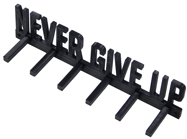 Never Give Up Running Marathon Sports Medal Display Rack Hanger Holder Organizer Wrestling Gymnastics Swimming Baseball Soccer