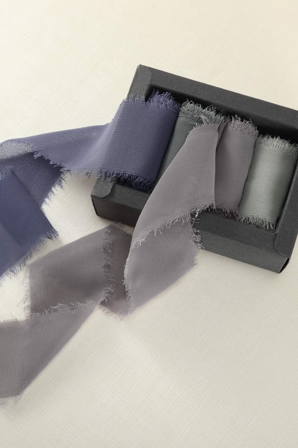 4 Rolls Ribbons for Bouquets Wrapping Decor Wedding Invitations Evening Sky Mixsuperstore Chiffon Ribbon Fringe Color Swatch 1-3//4 x 3Yd