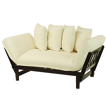 Merveilleux Casual Home Casual Lounger Sofa Bed Fabric Cover, Single, Espresso  Frame/Ivory
