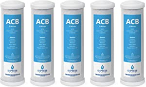 Express Water – 5 Pack Activated Carbon Block ACB Water Filter Replacement – 5 Micron, 10 inch Filter – Under Sink and Reverse Osmosis System
