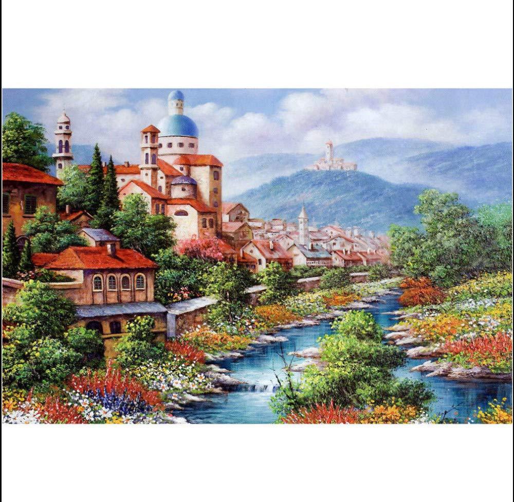 WAZHCY Malen nach Zahlen Malen auf auf auf Leinwand Stream Bunte Blaumen Schloss Geschenk für Erwachsene Kind DIY für Anfänger Junior 40X50CM Ohne Rahmen B07PGQCCPY | Exquisite (in) Verarbeitung  46d8ef