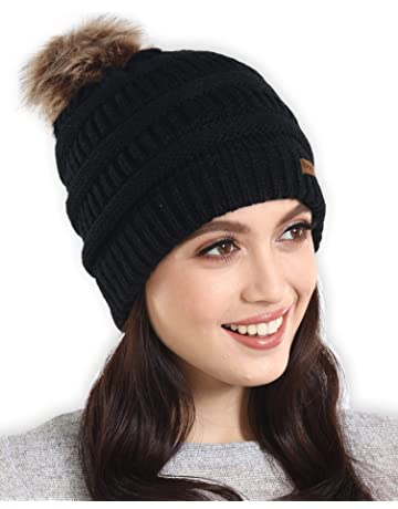 ... Knit Cap · Brook + Bay Faux Fur Pom Pom Beanie - Stay Warm   Stylish -  Thick 56874b531e95