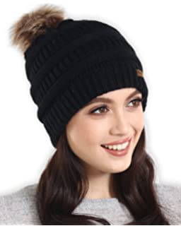 d3d1923c6 QUEENFUR Women Knit Slouchy Beanie Chunky Baggy Hat with Faux Fur ...