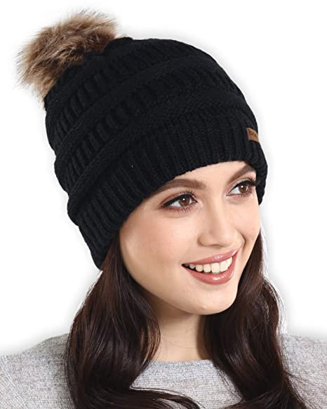 08bd2b84 Brook + Bay Faux Fur Pom Pom Beanie - Stay Warm & Stylish - Thick, Soft &  Chunky Cable Knit Beanie - Winter Hats for Women & Men - Serious Beanies  for ...