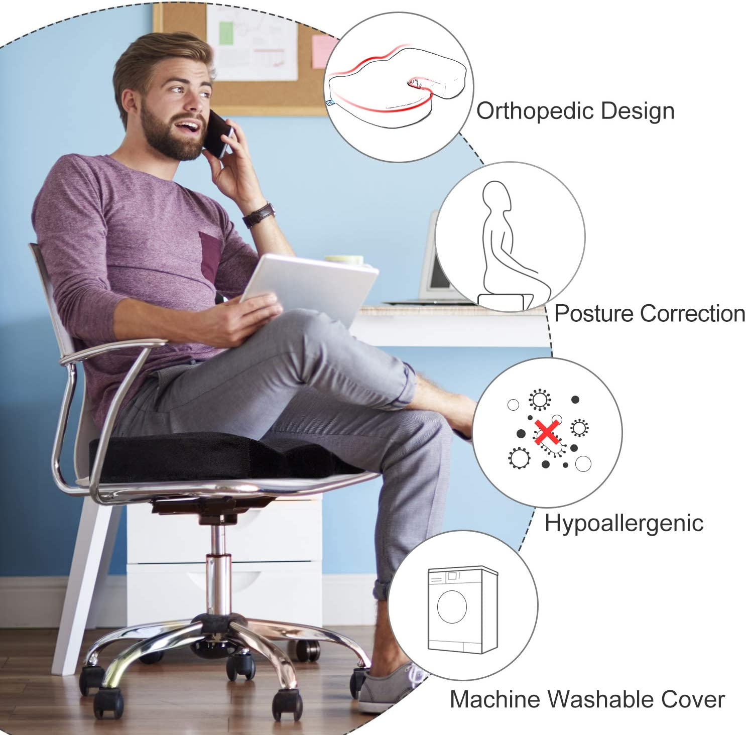 BedStory Office Seat Cushion for Tailbone Back Butt Pain Relief, Memory Foam Office Chair Cushion Booster to Lift Hips Up, Orthopedic U-Shape Design with 2 Replacement Covers: Home & Kitchen