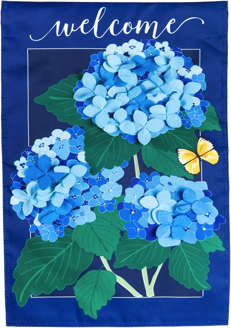 Evergreen Flag Hydrangea Blossoms Garden Applique Flag 12.5 x 18 Inch Double Sided Durable Outdoor Flag for Homes and Gardens