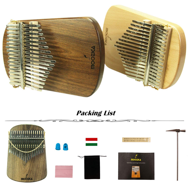 Moozica Kalimba 17 Keys Solid Walnut Wood Kalimba, Solid Walnut Wood Single Board Thumb Piano Marimba with Learning Instruction(K17S-W) by Moozica (Image #6)