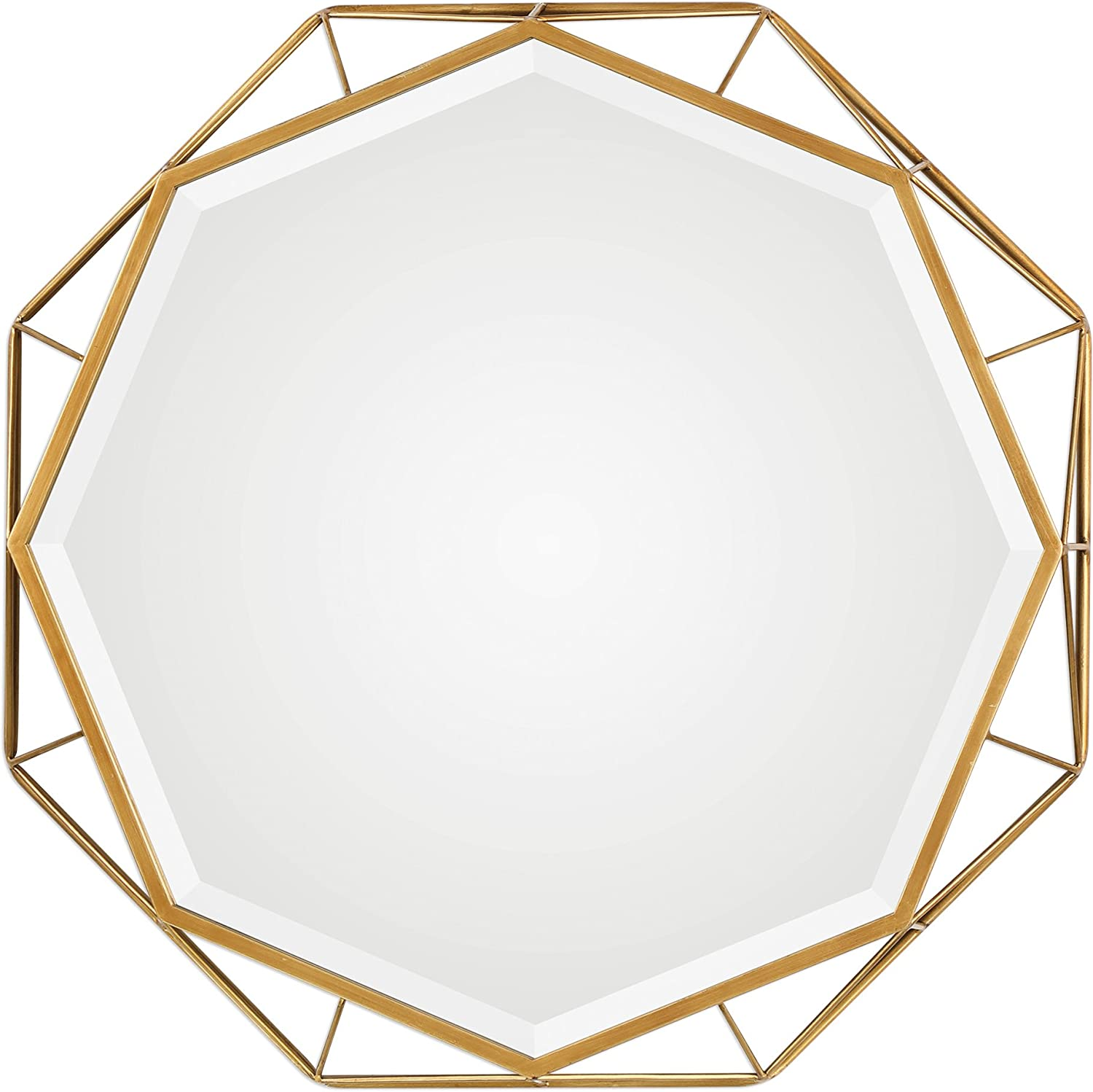 My Swanky Home 30 Gold Open Geometric Round Wall Mirror Octagon Mid Century Modern Shape Home Kitchen