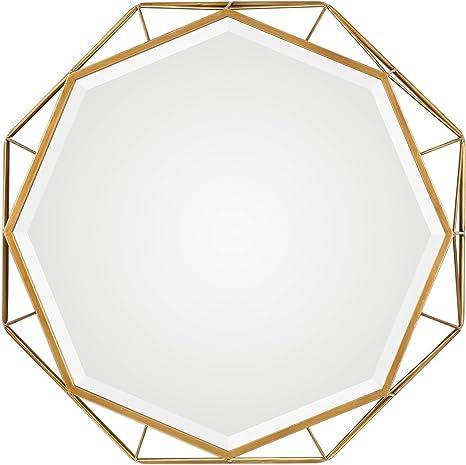 Amazon Com My Swanky Home 30 Gold Open Geometric Round Wall Mirror Octagon Mid Century Modern Shape Home Kitchen