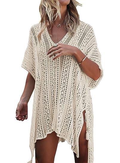 ca01a0f1d77 LeaLac Women's Summer Cotton Bathing Suit Cover Up Beach Bikini Swimsuit  Swimwear Crochet Dress Gift for