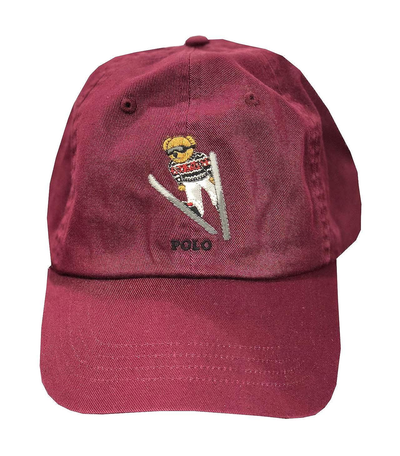 552f9bf514 Amazon.com  Polo Ralph Lauren Men s Polo Bear Skier Adjustable Baseball Hat  Cap - Burgundy  Clothing