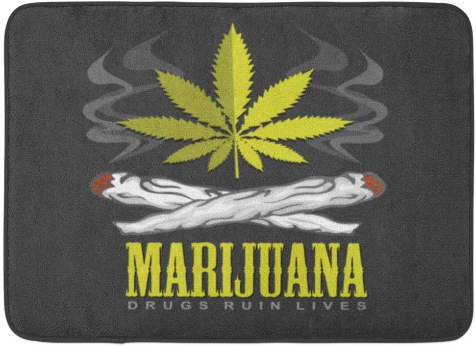 Alfombrillas Alfombras de baño Alfombrilla para exteriores / interiores Hierba verde Cruz de drogas Emblema de marihuana Cannabis medicinal Dejar de fumar Decoración de baño Alfombra Alfombra de baño