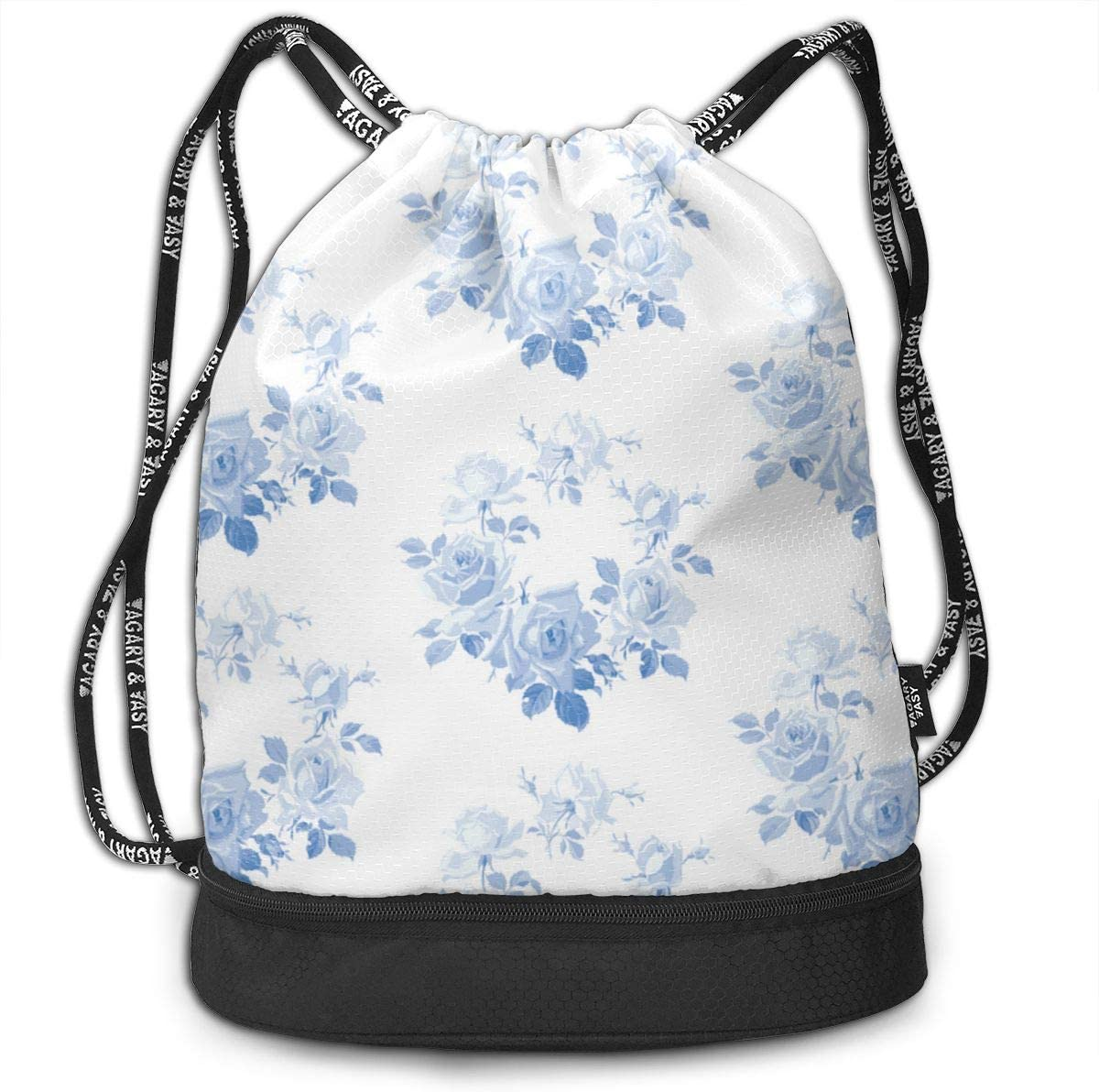 Blue Rose Wreath Blueberry Blue Drawstring Backpack Sports Athletic Gym Cinch Sack String Storage Bags for Hiking Travel Beach
