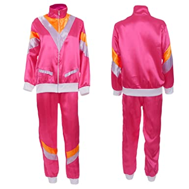 Ladies 1980s Scouser Shell Suit Fancy Dress Costume Jimmy Tracksuit