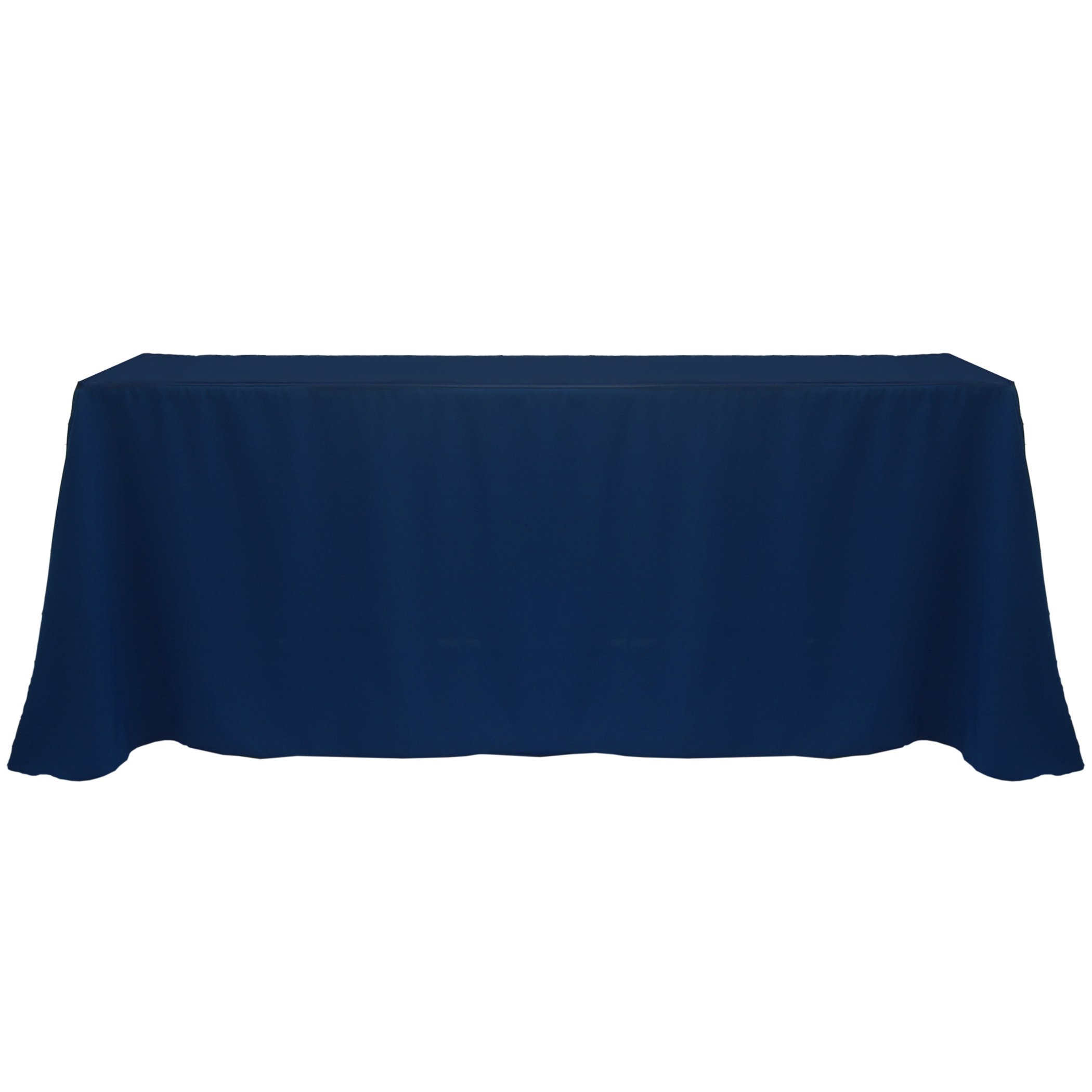 Ultimate Textile -2 Pack- 90 x 132-Inch Rectangular Polyester Linen Tablecloth with Rounded Corners - for Wedding, Restaurant or Banquet use, Navy Blue