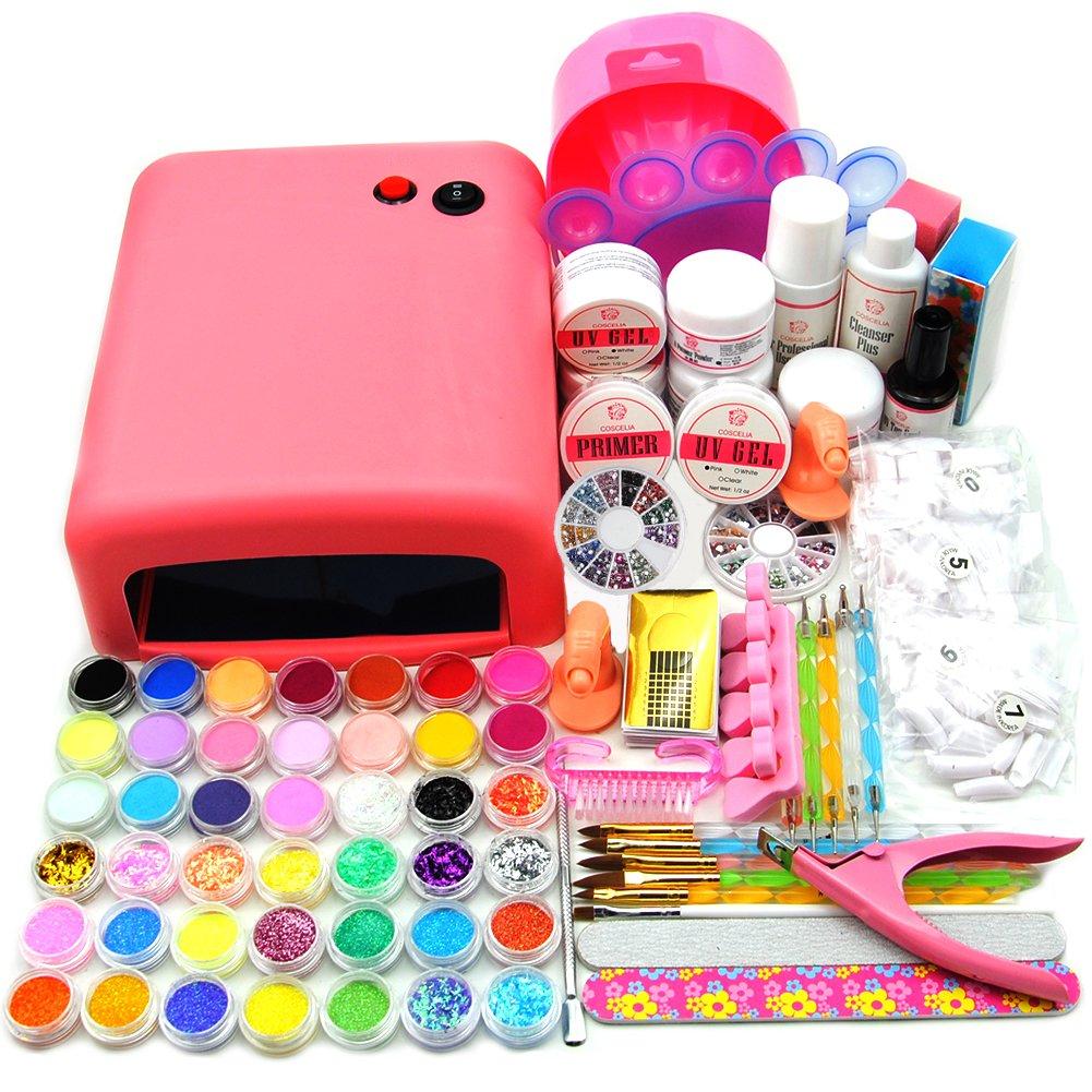 Coscelia Pro UV Gel Lamp Dryer Nail Art Acrylic Powder French Tips Salon Kit (36W pink)