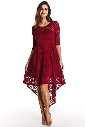 bf2dbb4b93d6 ANETTE Women s Hi-Lo Floral Lace 3 4 Sleeves Prom Bridesmaid Evening  Cocktail Party