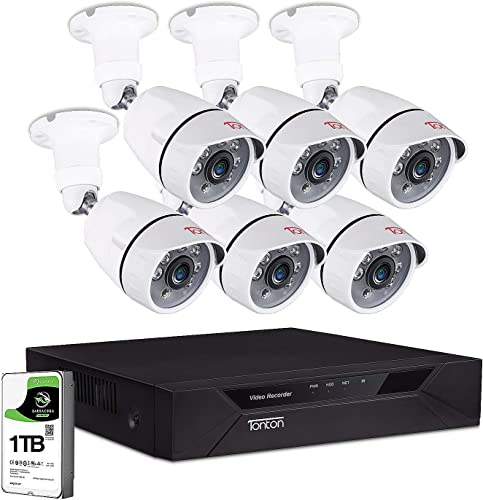 Tonton 1080P Surveillance Camera System Outdoor,8CH 1080P DVR with 1TB HDD and 6PCS FHD 2MP Waterproof Bullet Security Camera,100ft Night Vision,Free App Remote Access and Motion Alert with Snapshot