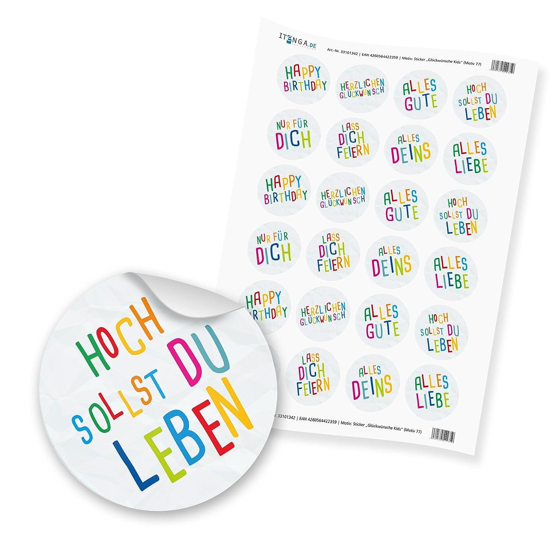 Motiv 4 24x Sticker Geschenk 4cm Aufkleber runde Spruch Etiketten Geburtstag