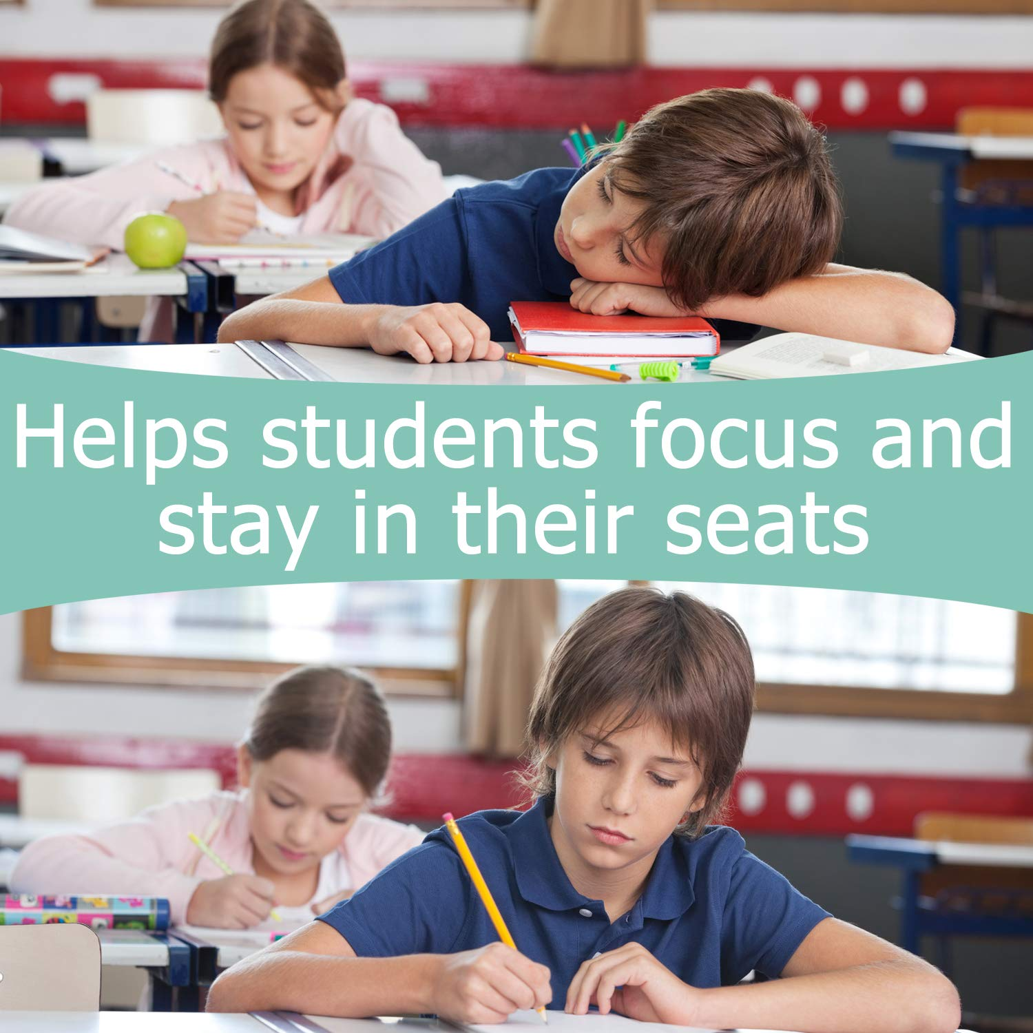 Fidget Chair Bands for Kids - Flexible Seating Classroom Furniture Option for Kids with Fidgety Feet - Bouncy Foot Bands for the Desk or Chair for Students with ADHD, Autism, or Sensory Needs by Kickfix (Image #3)