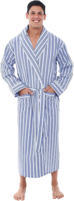 Alexander Del Rossa Mens Cotton Robe, Lightweight Woven Bathrobe at  Men's Clothing store