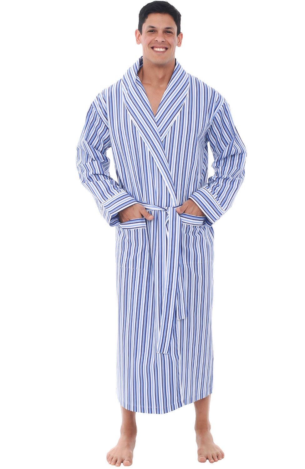 Alexander Del Rossa Mens Cotton Robe, Lightweight Woven Bathrobe, Large Dark Blue and White Striped (A0715P19LG)