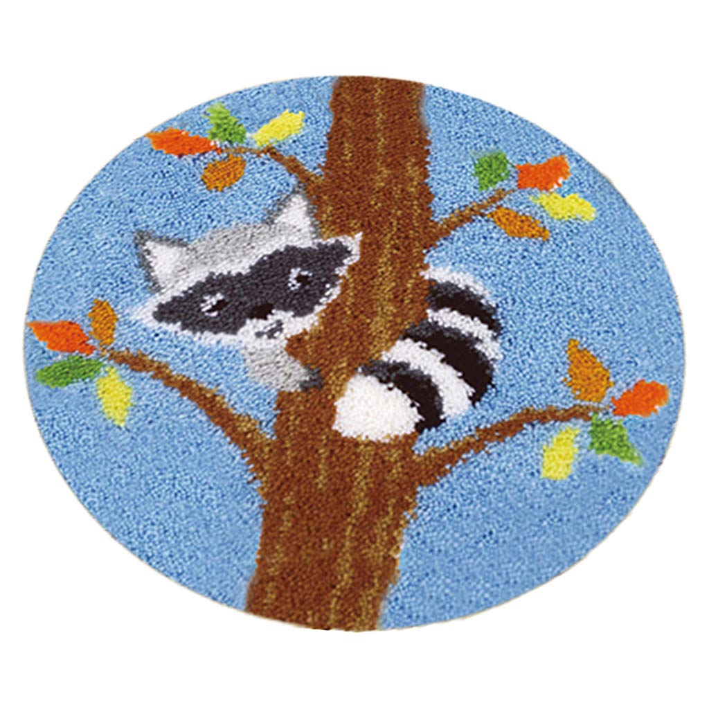 20x20inch dailymall Carpet Embroidery Handmade Latch Hook Kit DIY Rug Animal-Bear on Tree 50x50cm