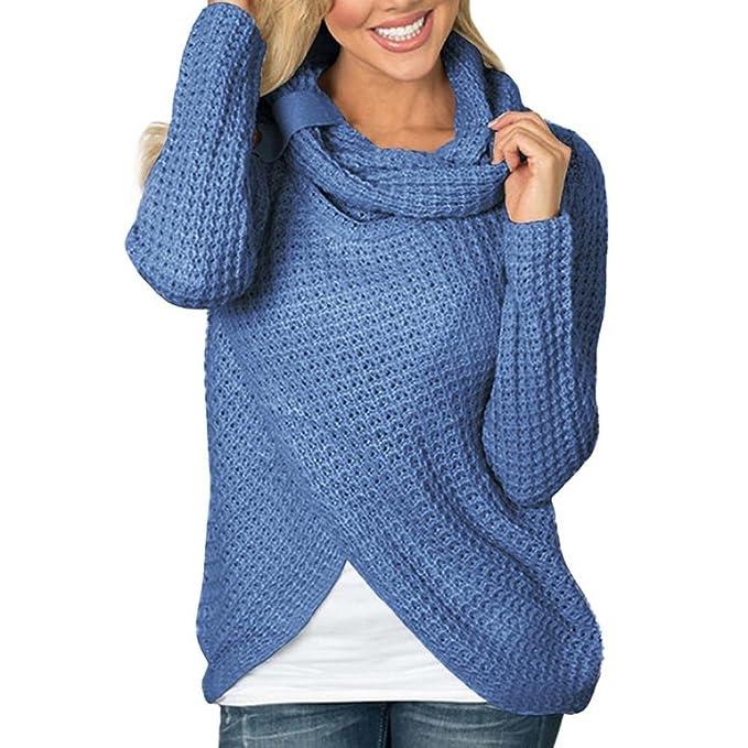 Logobeing Las Mujeres de Manga Larga Camiseta Maciza Jersey Tops Blusa, Suéter (S,