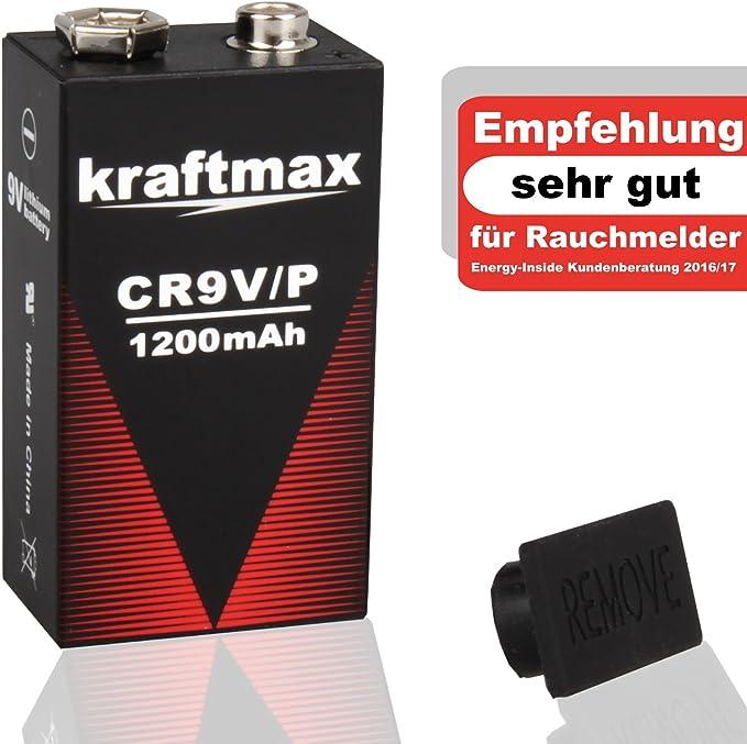 kraftmax 6X 9V Block Lithium Hochleistungs Batterien f/ür Rauchmelder//Feuermelder 10 Jahre Batterie Lebensdauer