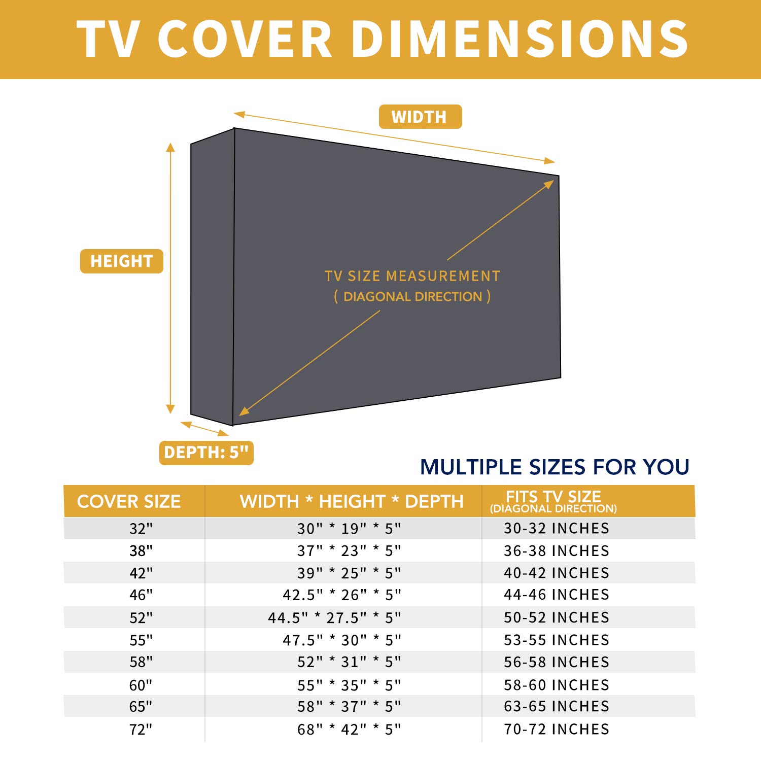 LED Waterproof Outdoor TV Cover for 63 to 65 inches LCD Weatherproof and Dust-Proof TV Screen Protectors with Cleanig Cloth 65 inch,Black