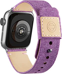 Adepoy Fabric Cloth Bands Compatible with Apple Watch 44mm 42mm 40mm 38mm, Canvas Strap with Soft Genuine Leather Lining and Snap Button for Apple iwatch Series 6/5/4/3/2/1 SE,Lavender 38/40mm