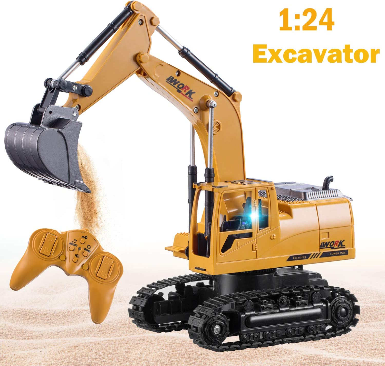 Remote Control Excavator Toy for Boys and Girls,Toy for boy Gifts Birthday Gift for Boys,Toy Excavator with Flashing Lights Birthday Gift for Boys/,Toy Excavator with Flashing Lights Toyard