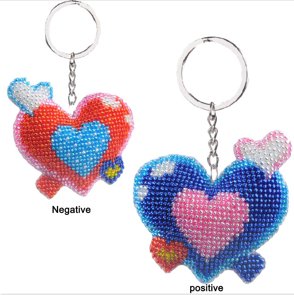 Cross-Stitch Kit Stamped Beaded Counted Ornament Love 'Heart Needlepoint Kits Gift for Couples Beginners Kids Adults (Heart) pnana