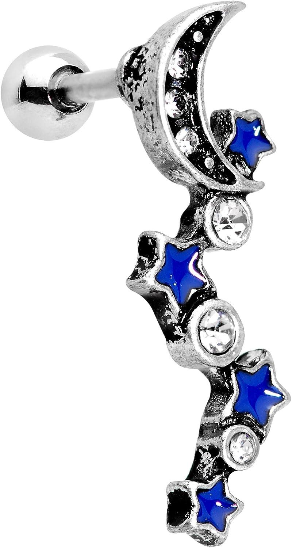 Body Candy 16G 316L Steel Helix Stud Dangle Tragus Cartilage Earring Womens Moon Body Jewelry 6mm