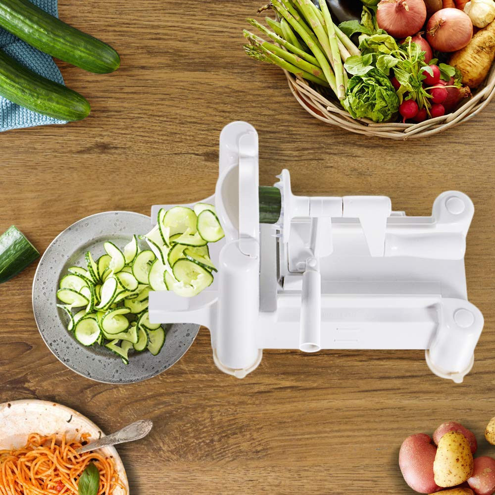 FUKTSYSM Spiralizer Vegetable Slicer Strongest-and-Heaviest Duty Vegetable Spiral Slicer 7 Blade Spiralizer Best Veggie Pasta Spaghetti Maker for Low Carb//Paleo//Gluten-Free